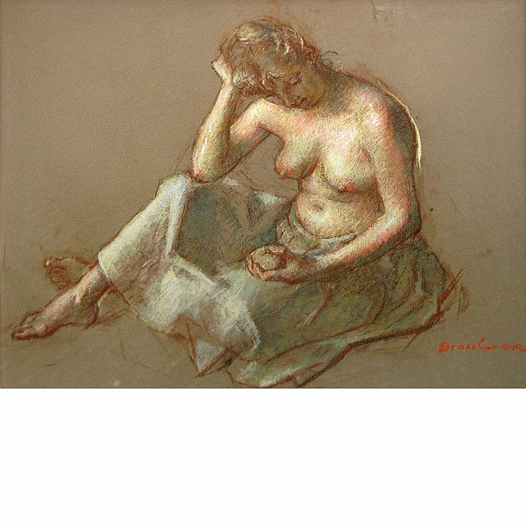 Robert Brackman American, 1898-1980 Seated Model with Apple