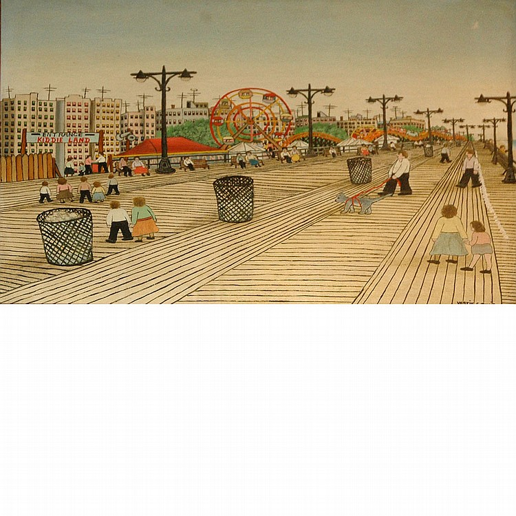 Vestie Davis American, 1903-1978 Coney Island Boardwalk, 1964