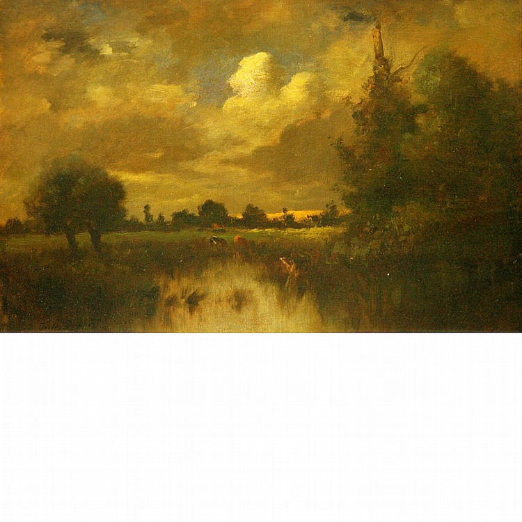 Jules Dupre French, 1811-1889 Landscape with Cattle beside a Marsh