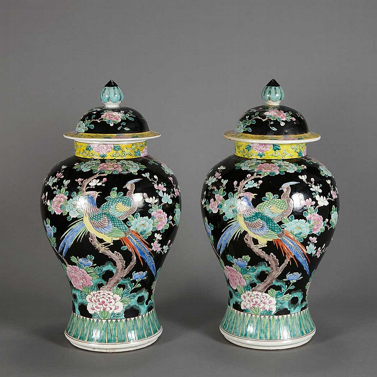 Pair of Chinese Phoenix Decorated Black Ground Porcelain Covered Vases