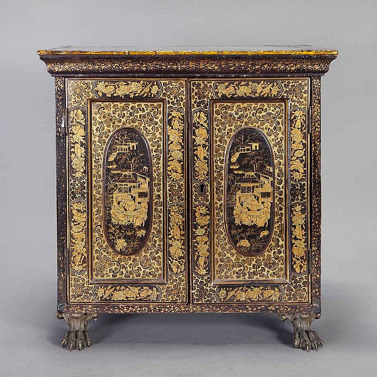 Chinese Export Black Lacquered Miniature Cabinet; And a Similar Table.
