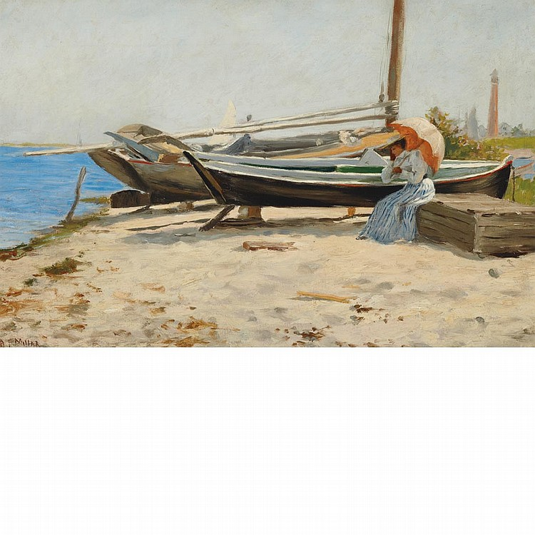 Addison Thomas Millar American, 1860-1913 By the Seashore   Signed A. T. Millar (ll) Oil on canvas 12 x...