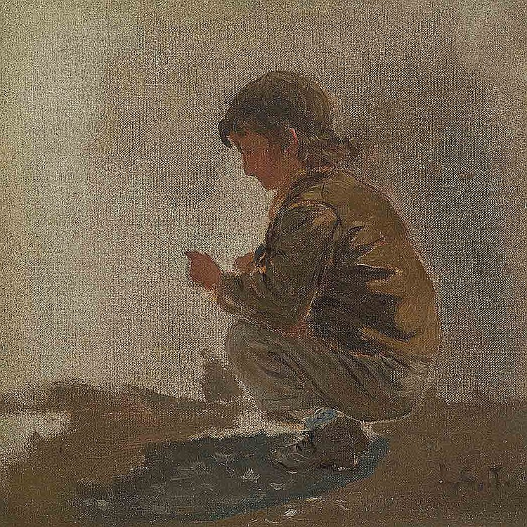 Louis Comfort Tiffany American, 1848-1933 Study of a Young Boy   Signed with the artist's initials L. C. T....