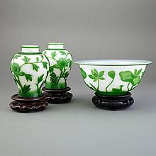Chinese Green Overlay Glass Bowl; Together with a Pair of Green and White Overlay Glass Vases