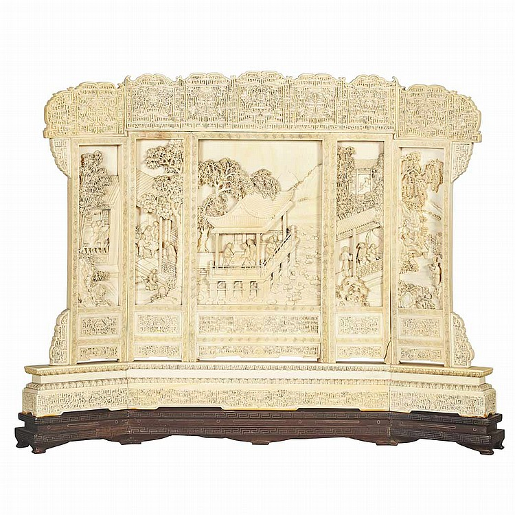 Chinese Carved Ivory Table Screen
