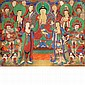 Korean School 19th Century Buddha, attendants and devotees