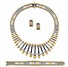Two-Color Gold and Tricolor Titanium Bracelet, Necklace and Pair of Hoop Earclips, by Marvin Schluger