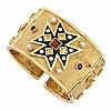 Gold, Black Enamel, Gem-Set, Diamond and Split Pearl Cuff Bangle Bracelet
