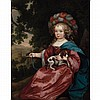 Manner of Caspar Netscher Girl in Festive Dress Holding a Spaniel
