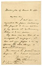 1860 Autograph Letter Signed JOHN C BRECKINRIDGE as Vice President of the United States