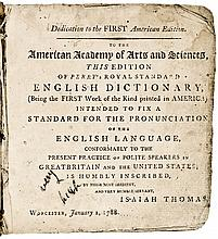 1788 FIRST AMERICAN EDITION of Isaiah Thomas' Historic Dictionary