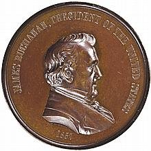 1857-Dated. Mint State James Buchanan Indian Peace Medal Struck in Bronze