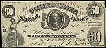 Confederate Currency. Act of August 19, 1861. Fifty Dollars. Very Fine