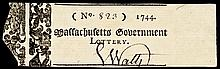 1744 Massachusetts Lottery Ticket - The Very First American Lottery !