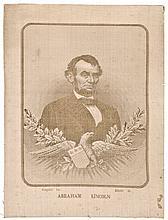 c. 1876 Abraham Lincoln Memorial Woven Silk Portrait