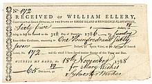 Unique 1788 WILLIAM ELLERY Continental Loan Office Rhode Island Interest Form