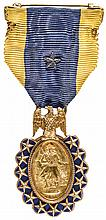 Rare 1883 14 carat Gold Sons of the Revolution Medal Silk Ribbon and Pinback