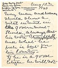 MARY LORD HARRISON, 1940 Autograph Letter Pair With Excellent Political Content