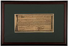 1780 Revolutionary War Massachusetts 6% Commodity Bond Certificate