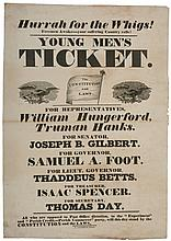 1834, Connecticut Whig Election Broadside:  Hurrah for the Whigs!