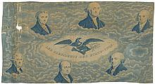 c. 1829 Printed Historic French Textile, LES PRESIDENTS DES ETATS-UNIS