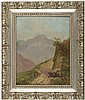 GUSTAVE ADOLPH WIEGAND, Oil Painting Hiker In The Mountains, Signed, Gustave Adolph Wiegand, $1,800