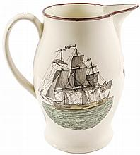 Outstanding 1804 Polychrome Liverpool Creamware Pitcher: Success to America...