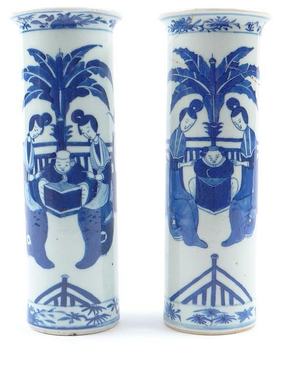 Pair of cylindrical Chinese porcelain vases