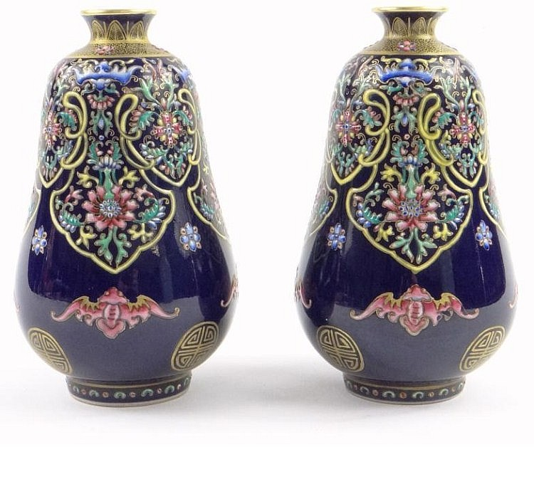 Pair of Chinese porcelain vases enamelled and