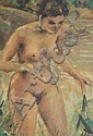 Andre Picot - Oil onto board of a nude female,, Andre  Picot, Click for value