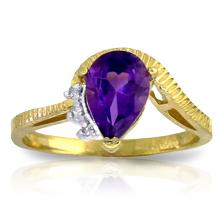 14K. SOLID GOLD RING WITH DIAMONDS & AMETHYST