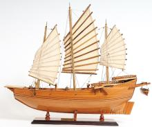 HAND MADE WOODEN Chinese Junk W/COA