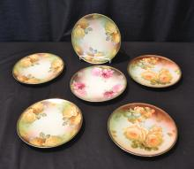 (6) HAND PAINTED THOMAS BAVARIA ROSE PLATES