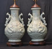 (Pr) LARGE CELADON LAMPS WITH FIGURAL HANDLES