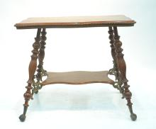 TIGER OAK BALL & CLAW TABLE WITH SHELF