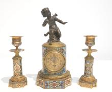 19thC MINIATURE CHAMPLEVE BRONZE CLOCK SET