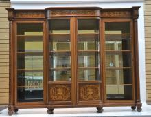 RJ HORNER MARQUETRY INLAID 4-DOOR BOOKCASE