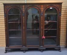 SCROLL MARQUETRY INLAID RJ HORNER TRIPLE BOOKCASE