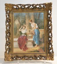 LARGE HAND PAINTED KPM PORCELAIN PLAQUE