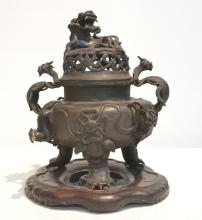 18thC HEAVILY CARVED CHINESE BRONZE SENSOR