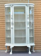 PAINTED OAK CURVED GLASS CHINA CABINET WITH