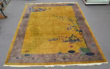 ANTIQUE CHINESE ART DECO RUG WITH YELLOW GROUND