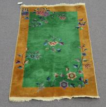 ANTIQUE DECO CHINESE RUG WITH FLOWER DESIGNS