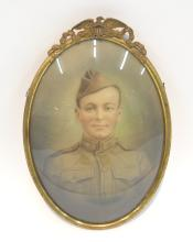 CONVEX US ARMY PORTRAIT OF SOLDIER SET IN BRASS