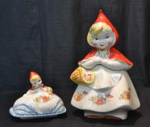 LITTLE RED RIDING HOOD COOKIE JAR & BUTTER DISH