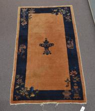 COBALT & TAN CHINESE RUG - 3' 1