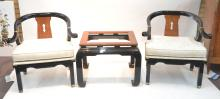 (Pr) LACQUERED ORIENTAL CHAIRS & GLASS TOP TABLE