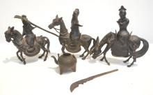 (3) ORIENTAL BRONZE MEN ON HORSES - 8