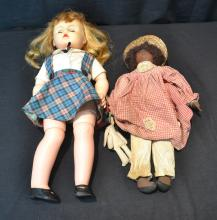 BLACK RAG DOLL & VINYL DOLL - 24