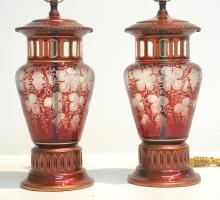 (Pr) BOHEMIAN RUBY FOLIATE CUT TO CLEAR LAMPS